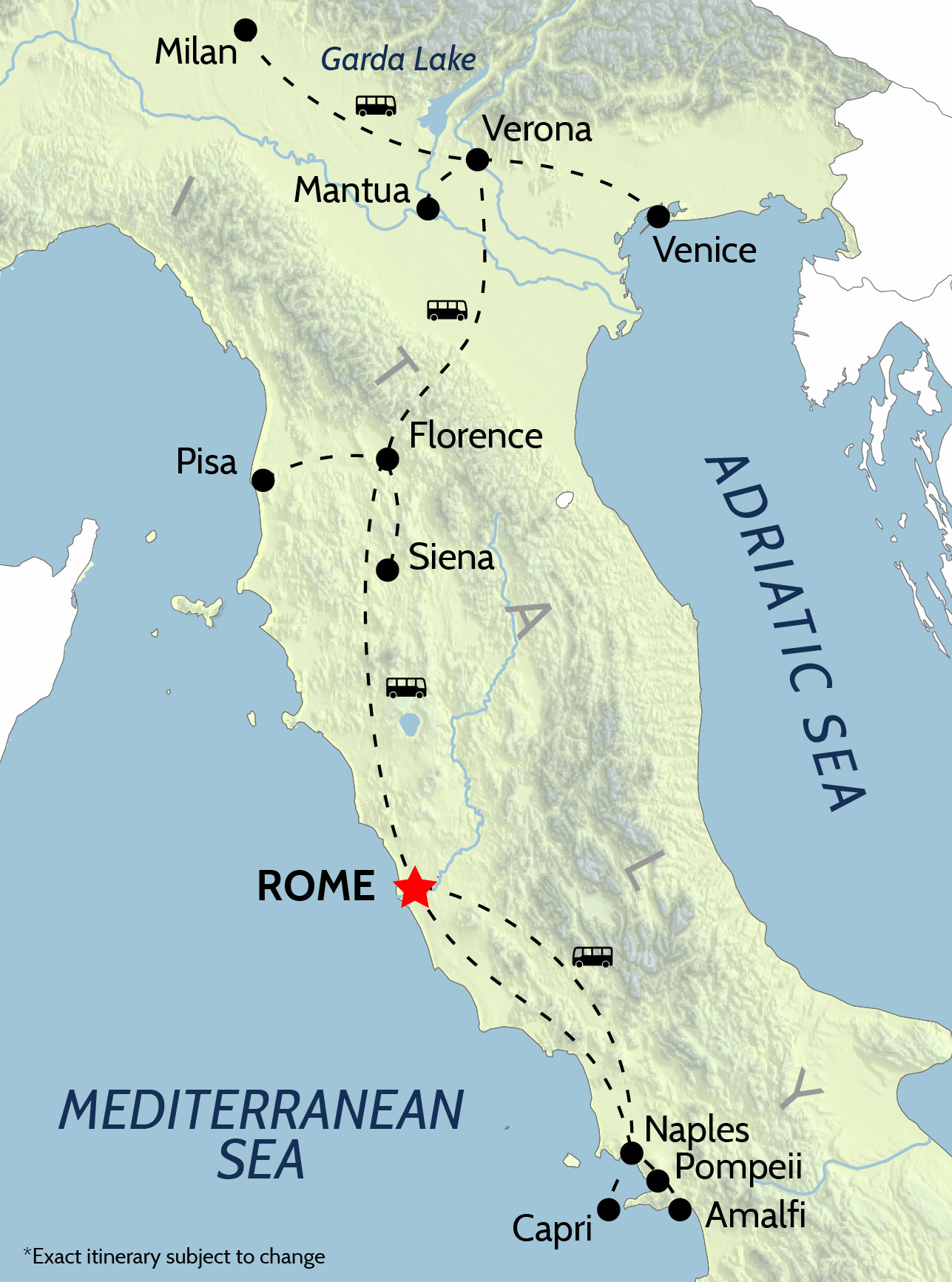 The tour map for Wheel & Anchor's tour of Italy